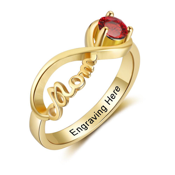 1 Stone Mom's Infinite Love 14k Gold IP Mother's Ring