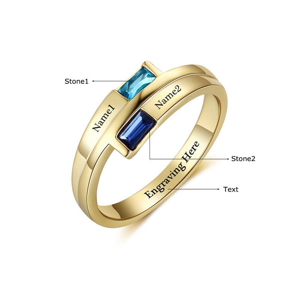 2 Stone 14k Gold IP Baguette Engraved Mother's Promise Ring - Think Engraved