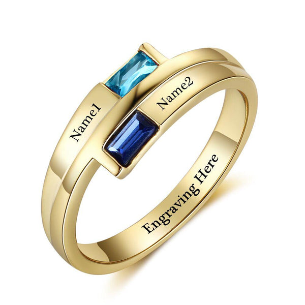 2 Stone 14k Gold IP Baguette Engraved Mother's Promise Ring