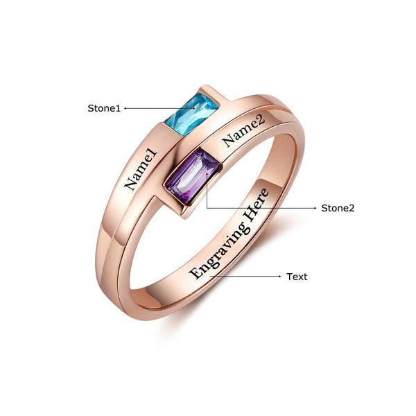 2 Stone Rose Gold IP Baguette Engraved Mother's Promise Ring - Think Engraved