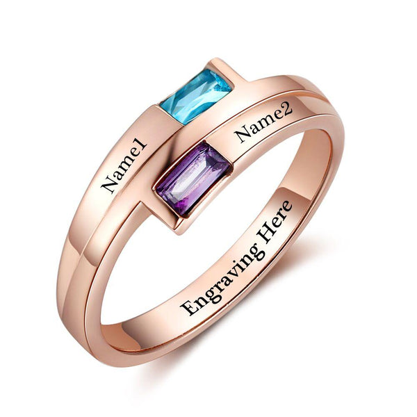 2 Stone Rose Gold IP Baguette Engraved Mother's Promise Ring