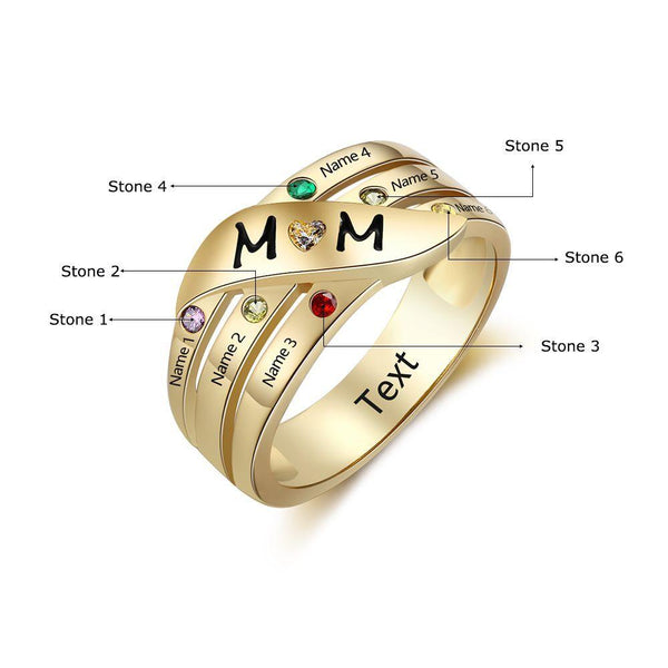 6 Stone Personalized 14k Gold IP Mother's MOM Ring - Think Engraved