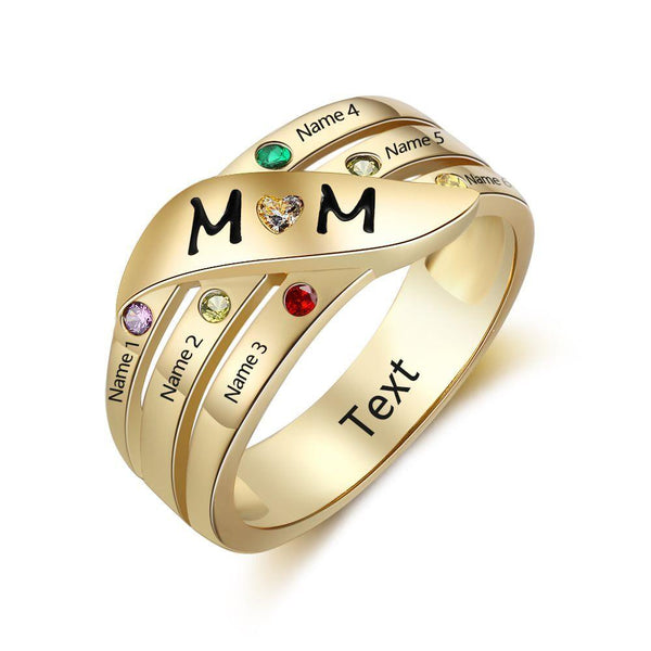 6 Stone Personalized 14k Gold IP Mother's MOM Ring