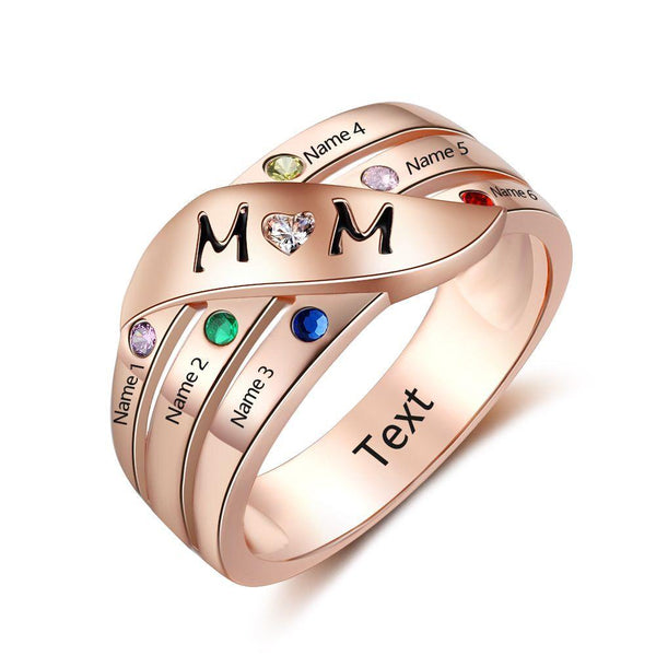 6 Stone Personalized Rose Gold Gold IP Mother's MOM Ring