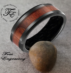 Men's Engraved Wedding Band Ring Wood Inlay - Think Engraved