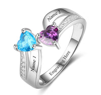 2 Stone Tiered Hearts Mothers Ring or Promise Ring - Think Engraved
