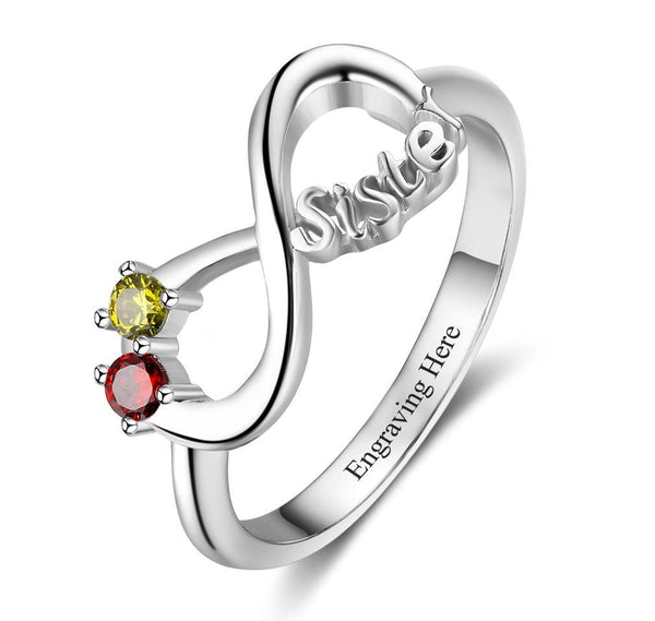 2 Stone Infinity Sisters Ring - Think Engraved