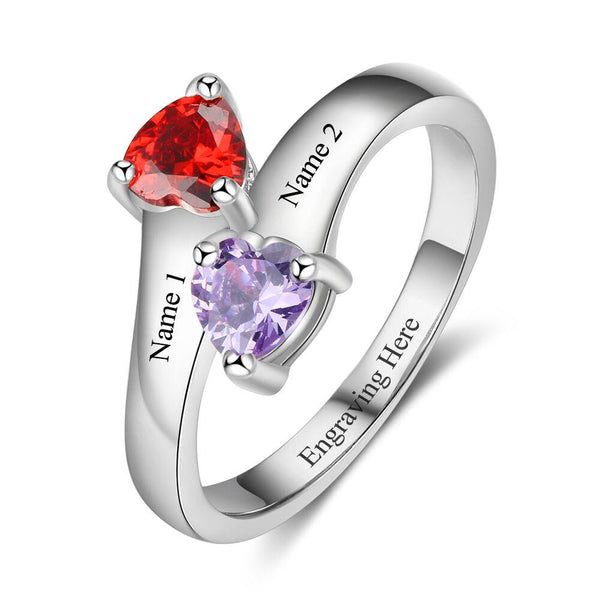 2 Stone Crossed Hearts Engraved Mothers or Promise Ring - Think Engraved