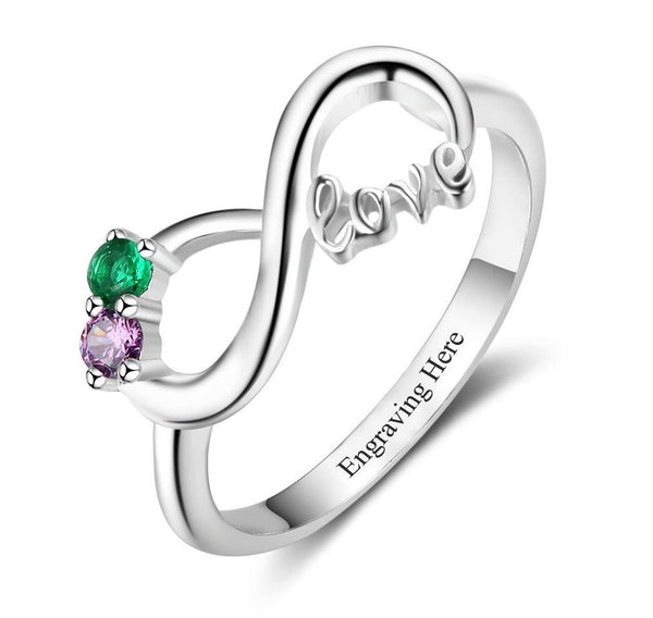 2 Stone Infinity Love Mother's Ring or Promise Ring - Think Engraved
