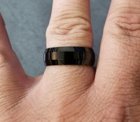 Mens Black Engraved Tungsten Wedding Band With Beveled Edges