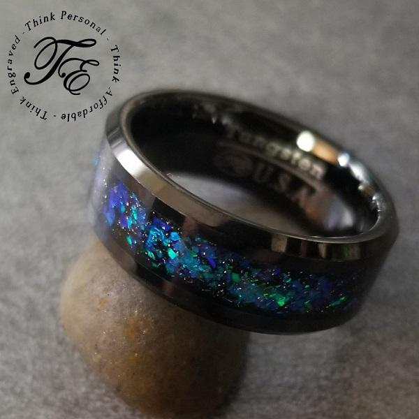 Mens Engraved Tungsten Wedding Blue and Green Galaxy Opal - Think Engraved