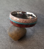 Engraved Men's Tungsten Wedding Band Wood, Antler and Turquoise Inlay - Think Engraved