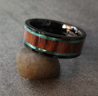 Personalized Engraved Men's Tungsten Wedding Band Wood and Abalone Inlay - Think Engraved