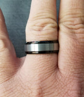Mens Engraved Tungsten Wedding Band Black and Brushed Steel - Think Engraved