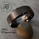 Mens Engraved Tungsten Ring Brushed Black Beveled Edges - Think Engraved