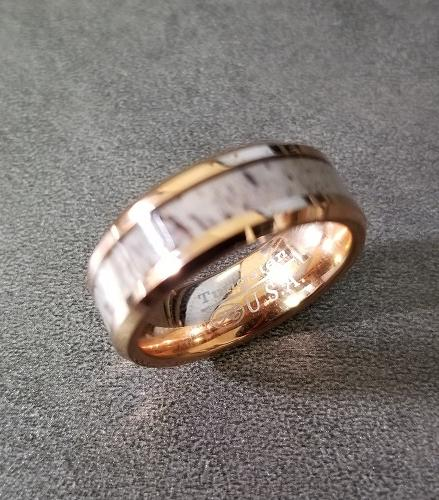 Mens Engraved Tungsten Wedding Band Deer Antler Inlay Rose Gold Plate - Think Engraved