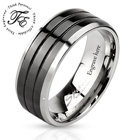 Engraved Triple Line Black Men's Promise Ring Wedding Band - Think Engraved