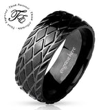 Men's Engraved Wedding Band Ring Racing Tire Design - Think Engraved