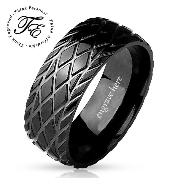 Men's Engraved Wedding Band Ring Tire Tread Design