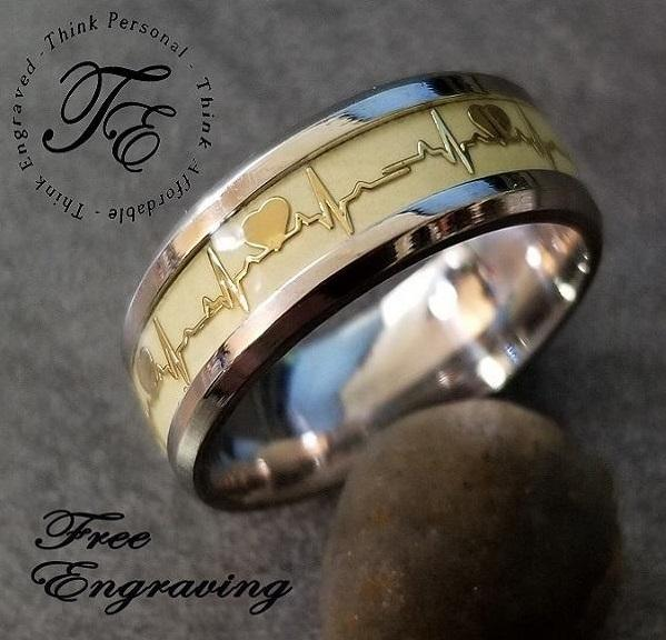 Mens Engraved Wedding Ring Glowing Heartbeat Promise ring - Think Engraved