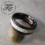 Mens Engraved Tungsten Wedding Ring With Meteorite Inlay