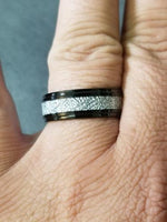 Mens Engraved Tungsten Wedding Ring With Meteorite Inlay - Think Engraved