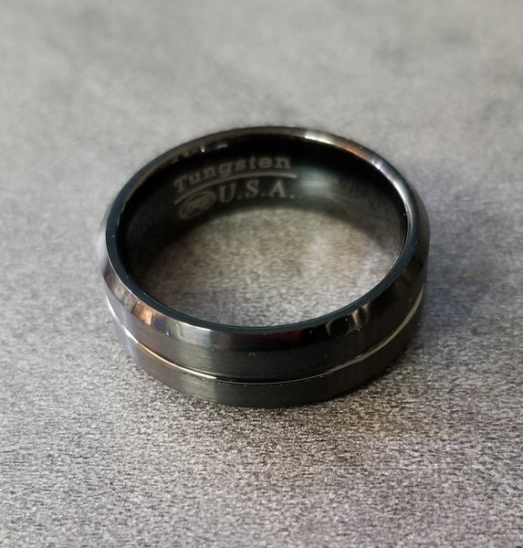 Mens Personalized Tungsten Wedding Ring Black Center Line - Think Engraved
