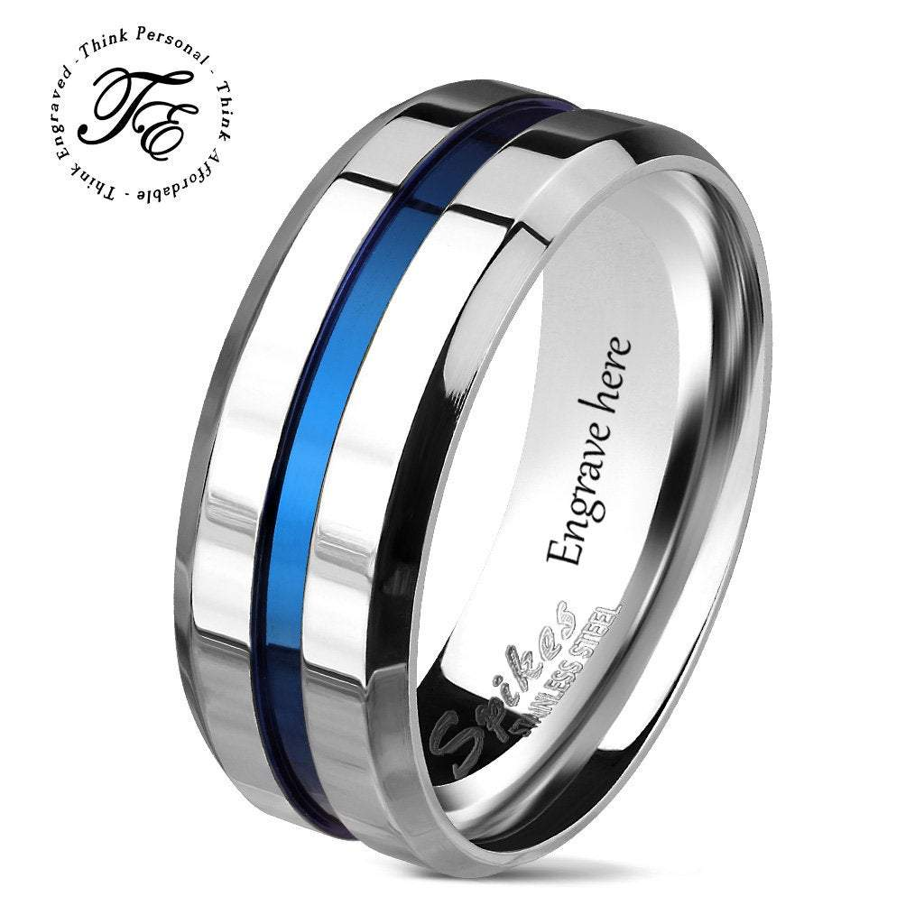 Men's Promise Ring Engraved Wedding Band Blue Inlay - Think Engraved