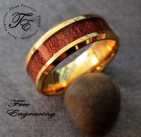 Mens Engraved Gold Promise Band Ring Wood Inlay Gold ip - Think Engraved