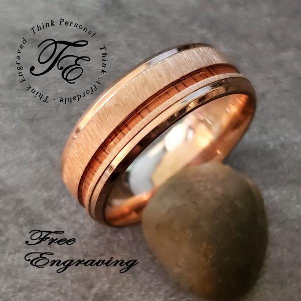 Men's Engraved Wedding Band Wood Line Inlay Rose Gold IP - Think Engraved