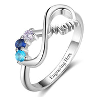 3 Stone Infinite Love Engraved Mother's Infinity Ring - Think Engraved