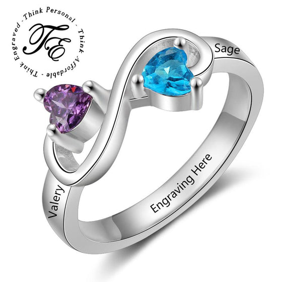 Mothers Infinity Ring 2 Birthstones 2 Engraved Names