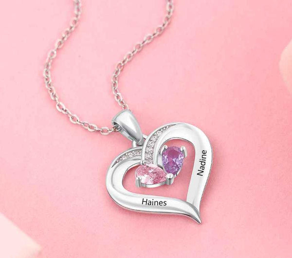 Mother's Necklace 2 Birthstones 2 Engraved Names Heart - Think Engraved