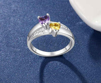 Mother's Ring 2 Heart Birthstones and 2 Engraved Names