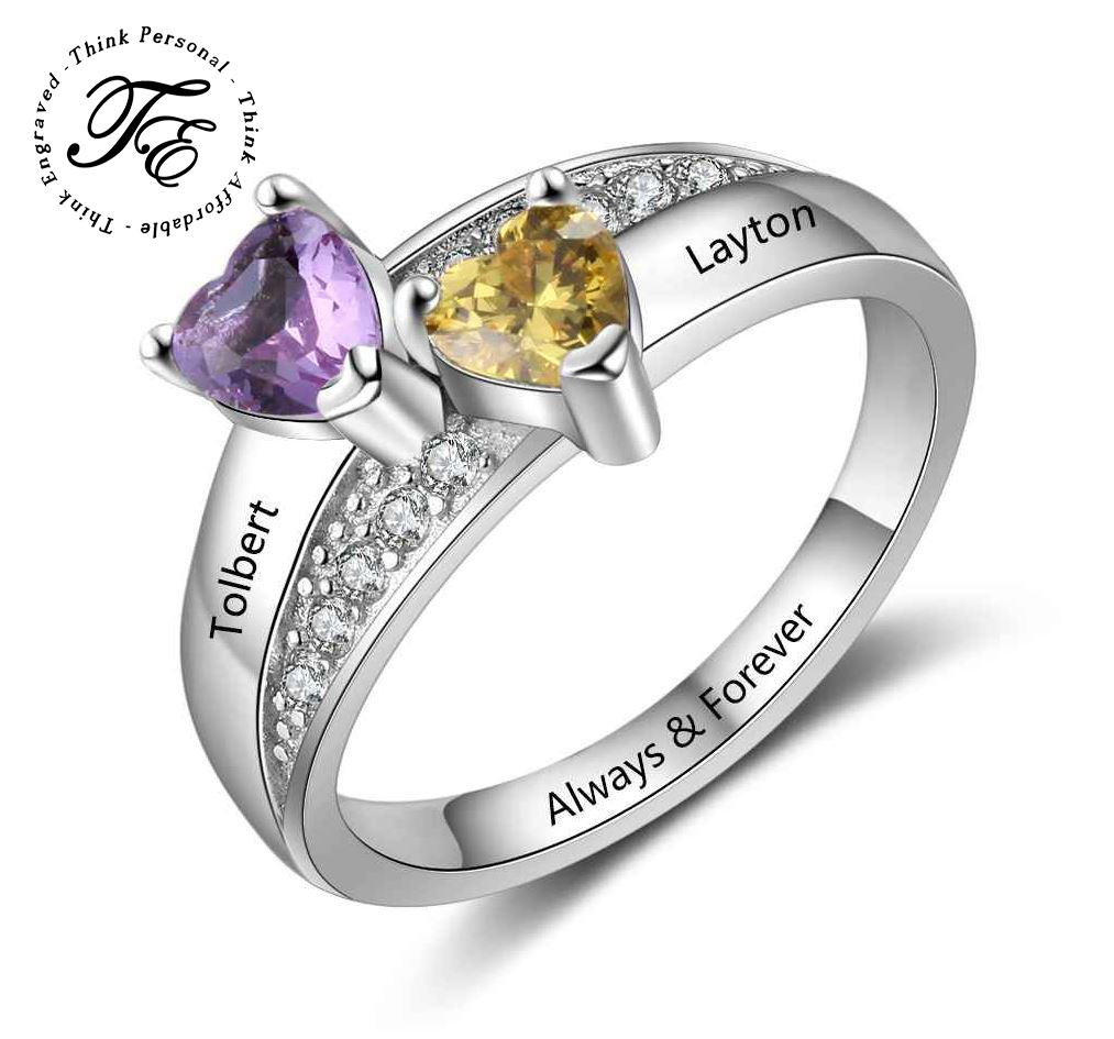 Mother's Ring 2 Heart Birthstones and 2 Engraved Names - Think Engraved
