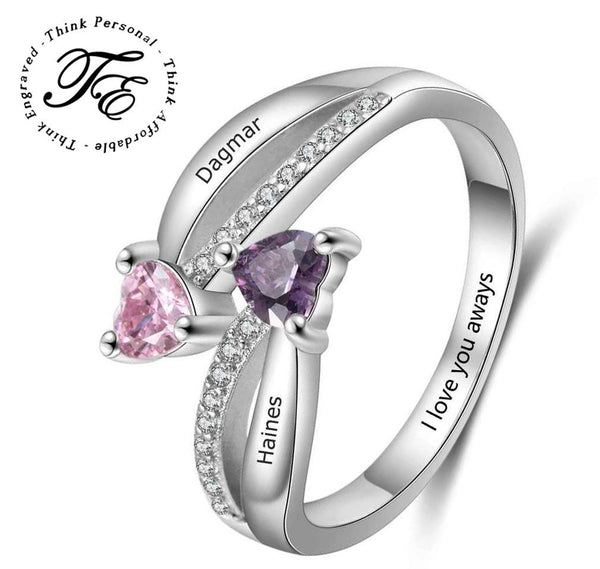 Mother's Ring 2 Heart Birthstones 2 Engraved Names True Loves
