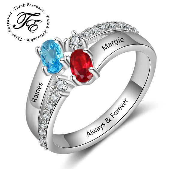 Mother's Ring 2 Oval Birthstones 2 Engraved Names - Think Engraved