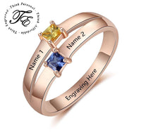 Mother's Ring 2 Stone  2 Engraved Names 14k Rose Gold IP - Think Engraved