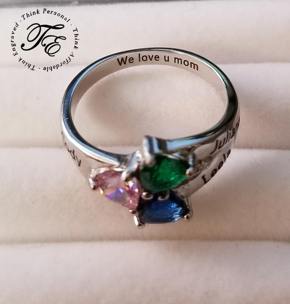 3 Stone Three Loves Engraved Mothers Ring - Think Engraved