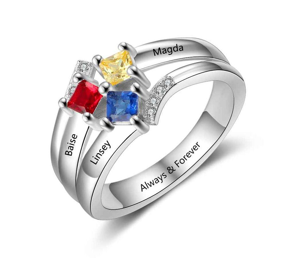 Mother's Ring 3 Square Birthstones 3 Engraved Names - Think Engraved