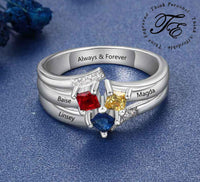 Mother's Ring 3 Square Birthstones 3 Engraved Names