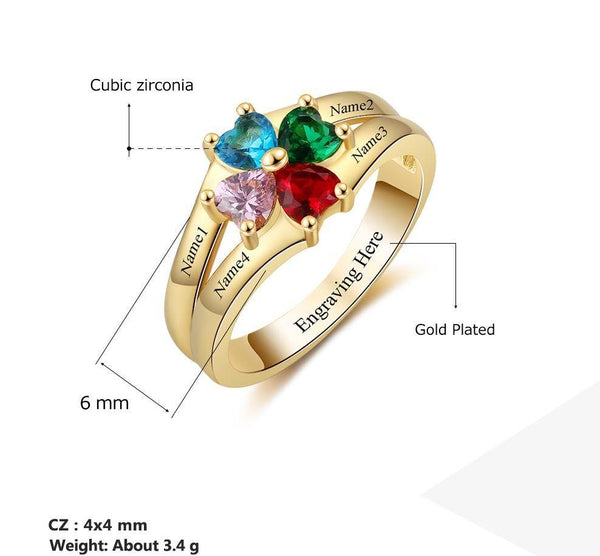 4 Stone 14k Gold Circled Hearts Mother's Ring - Think Engraved