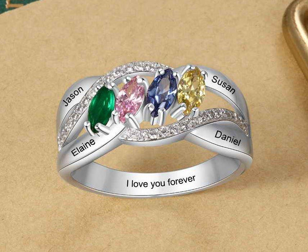 Mother's Ring 4 Marquis Birthstones 4 Engraved Names - Think Engraved