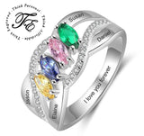 Mother's Ring 4 Marquis Birthstones 4 Engraved Names