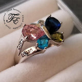 4 Birthstone Mother's Ring Butterfly Design - Think Engraved