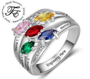 Personalized Mother's Ring 5 Marquis Birthstones Sterling Silver - Think Engraved