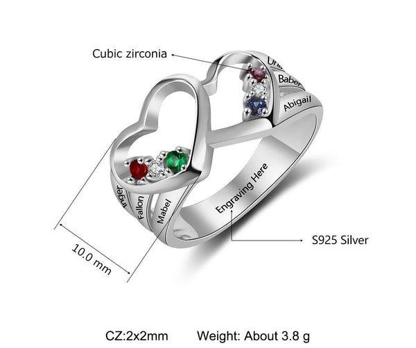 Mother's Ring 6 Stones 6 Names 2 Heart Design - Think Engraved