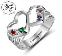 Mother's Ring 6 Stones 6 Names 2 Heart Design