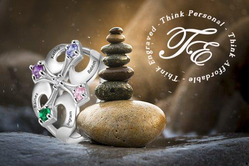 Mother's Ring Engraved 4 Birthstones Cross Design - Think Engraved