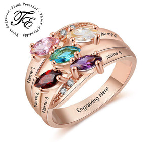 Personalized Mother's Ring 5 Marquis Birthstones Rose Gold IP - Think Engraved